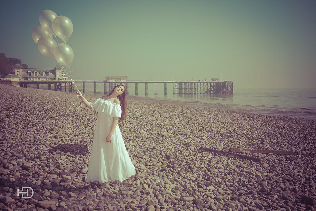 Penarth pier , fine art photography,beach,pebbles, model,ballons