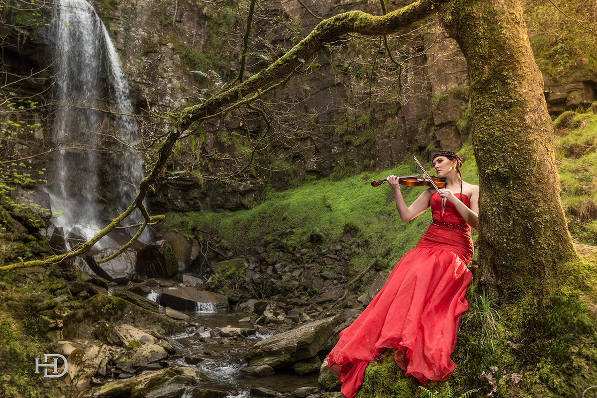 neath south walesWater fall fashion, commercial shoot violin